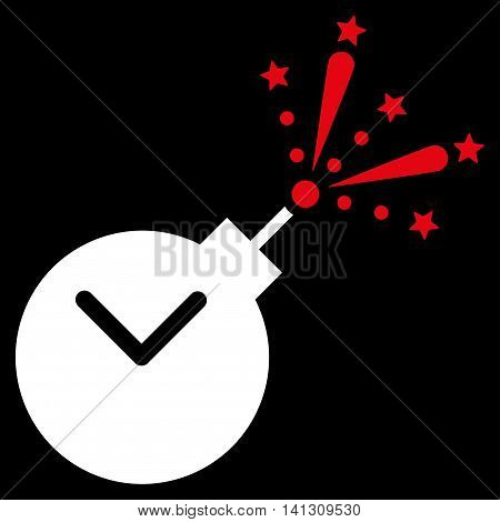 Time Fireworks Charge vector icon. Style is bicolor flat symbol, red and white colors, rounded angles, black background.