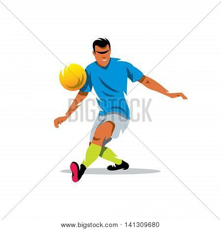 Man kicks the ball. Isolated on a white background