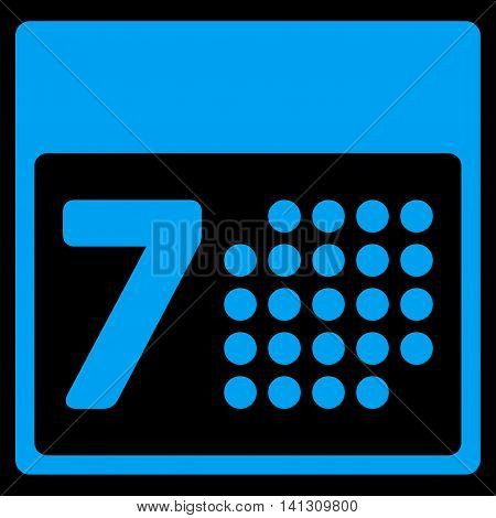Organizer Week vector icon. Style is flat symbol, blue color, rounded angles, black background.