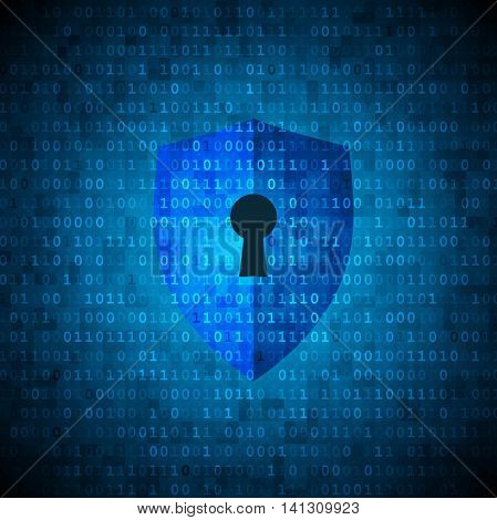 Protection shield with keyhole on digital data background. Cyber security concept.