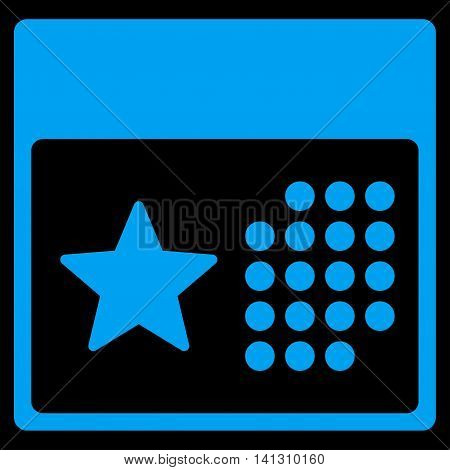 Holiday Appointment vector icon. Style is flat symbol, blue color, rounded angles, black background.
