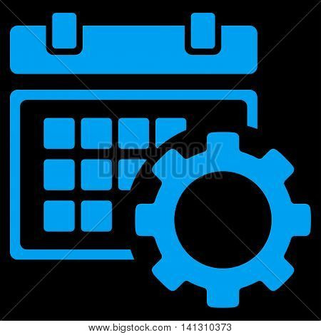 Schedule Setup vector icon. Style is flat symbol, blue color, rounded angles, black background.