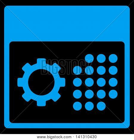 Service Binder vector icon. Style is flat symbol, blue color, rounded angles, black background.
