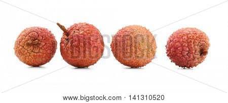 Fresh lychee fruits isolated on white