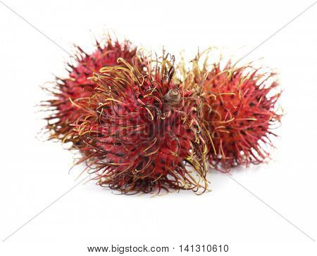 Juicy rambutans isolated on white