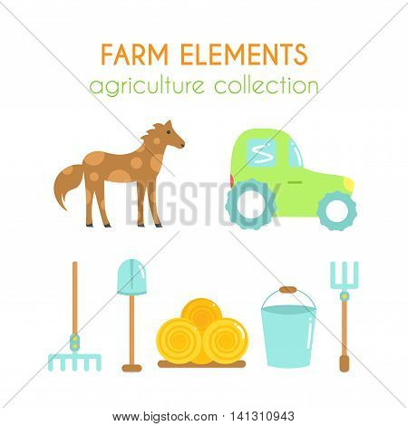 Cartoon farm elements. Vector tractor illustration. Rake and shovel icons. Hay rolls and horse design. Flat argiculture collection.