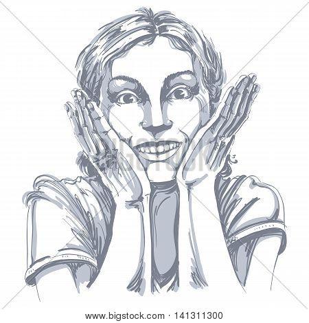 Hand-drawn portrait of white-skin surprised happy woman gesturing.