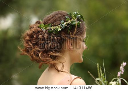 Bridesmaid with beautiful wreath on head