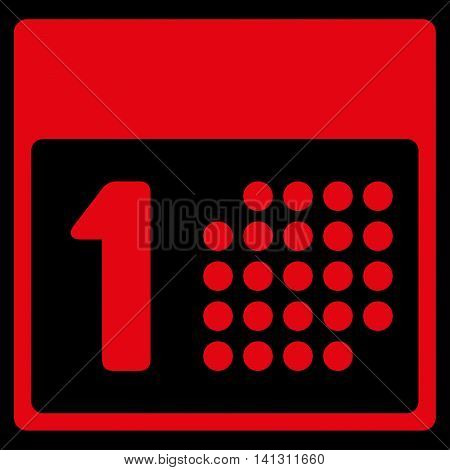 First Day vector icon. Style is flat symbol, red color, rounded angles, black background.