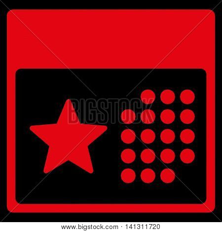 Holiday Organizer vector icon. Style is flat symbol, red color, rounded angles, black background.