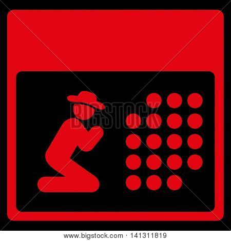 Pray Organizer vector icon. Style is flat symbol, red color, rounded angles, black background.