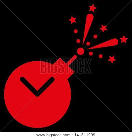 Time Fireworks Charge vector icon. Style is flat symbol, red color, rounded angles, black background.