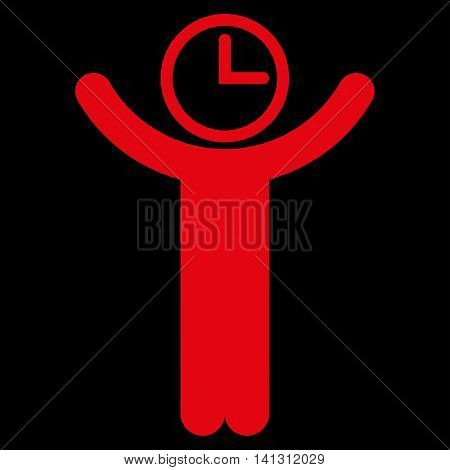 Time Manager vector icon. Style is flat symbol, red color, rounded angles, black background.