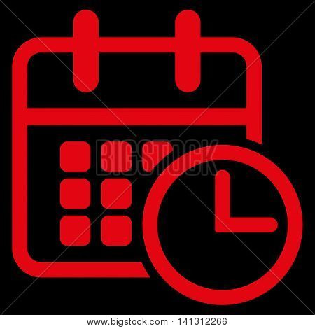 Timetable vector icon. Style is flat symbol, red color, rounded angles, black background.