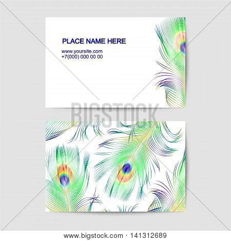 Visiting vector card with peacock feathers on white background