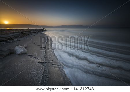 Sunrise lines...   Photographed at Dead sea, the lowest place on the Earth minus 423 m,  minus 1,388 ft. Performed with a long exposure technique.