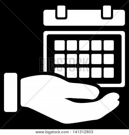 Service Timetable vector icon. Style is flat symbol, white color, rounded angles, black background.