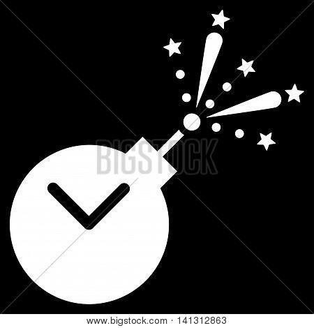 Time Fireworks Charge vector icon. Style is flat symbol, white color, rounded angles, black background.