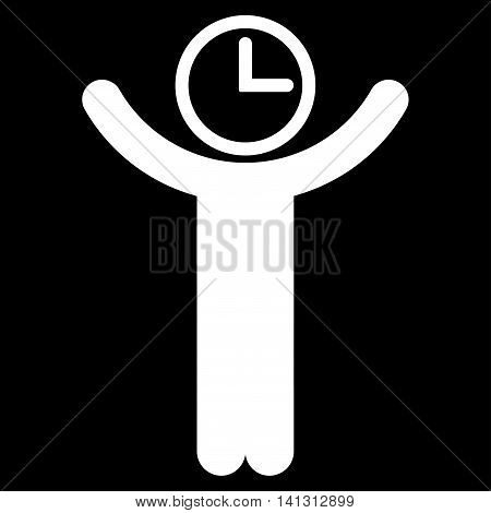 Time Manager vector icon. Style is flat symbol, white color, rounded angles, black background.