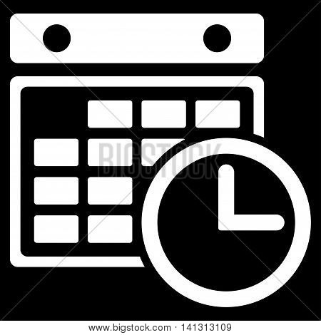 Timetable vector icon. Style is flat symbol, white color, rounded angles, black background.