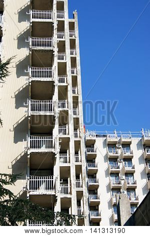 Facade of a multi-storey residential modern building