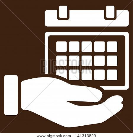 Service Timetable vector icon. Style is flat symbol, white color, rounded angles, brown background.