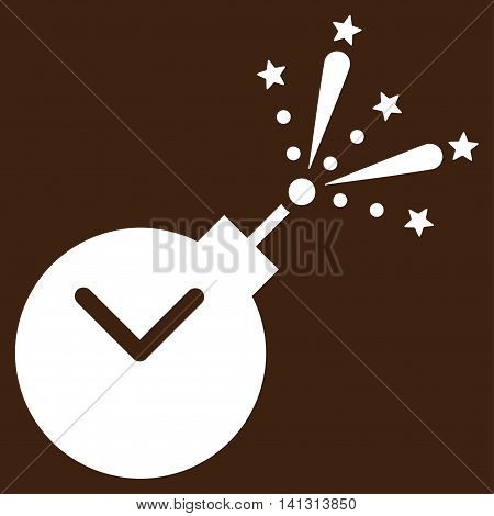 Time Fireworks Charge vector icon. Style is flat symbol, white color, rounded angles, brown background.
