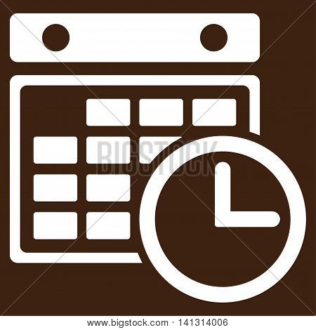 Timetable vector icon. Style is flat symbol, white color, rounded angles, brown background.