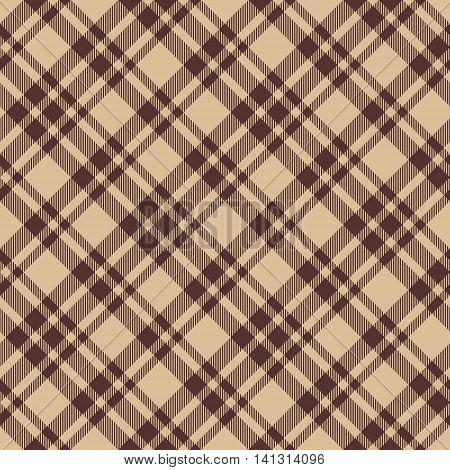 Beige brown diagonal check plaid seamless fabric texture. Vector illustration. EPS10.