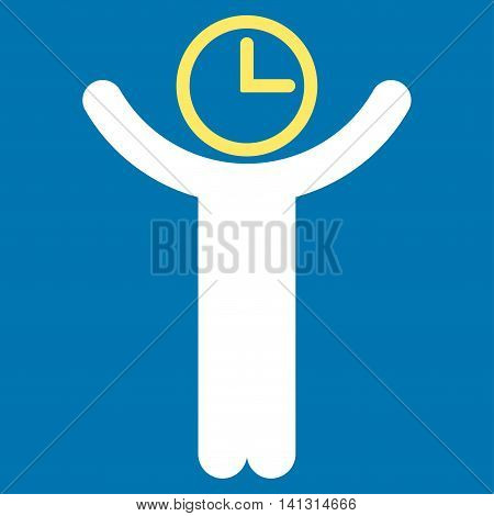 Time Manager vector icon. Style is bicolor flat symbol, yellow and white colors, rounded angles, blue background.