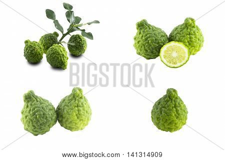 Set kaffir lime isolated on white background.Background  herb or object of raw food.