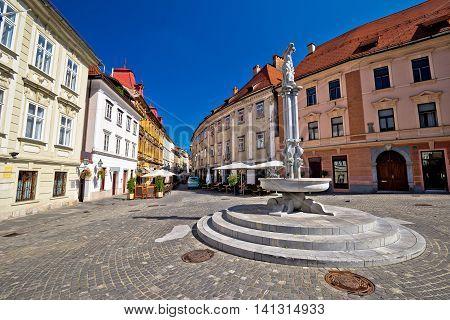 Cobbled streets of old Ljubljana capital of Slovenia