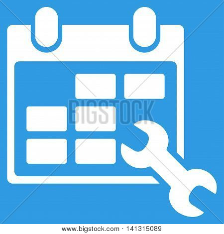 Configure Timetable vector icon. Style is flat symbol, white color, rounded angles, blue background.