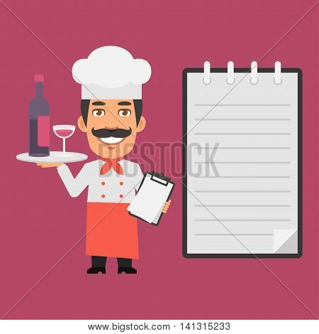 Vector Illustration, Chef Holding Tray with Alcoholic Beverages, Format EPS 8