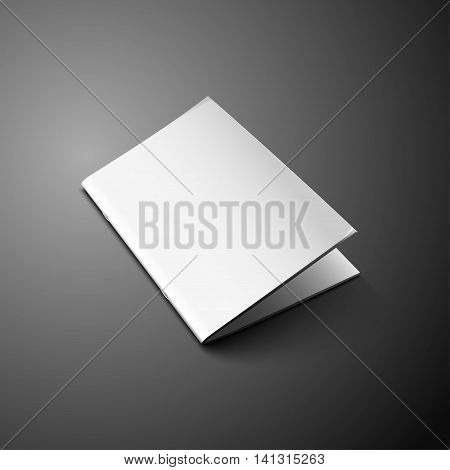 Blank Cover Of Magazine, Book, Booklet, Brochure, Leaflet. Illustration Isolated On Dark Background. Mock Up Template Ready For Your Design. Vector EPS10.