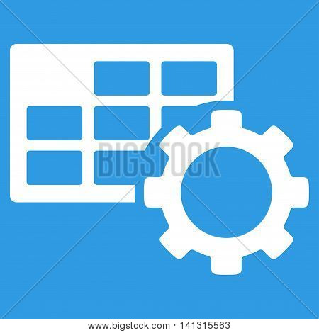 Schedule Setup vector icon. Style is flat symbol, white color, rounded angles, blue background.