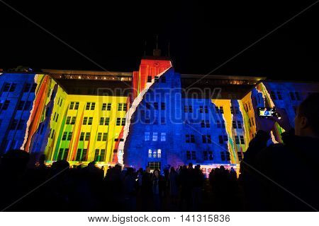 SYDNEY, AUSTRALIA - June 11, 2016: Museum of contemporary arts during Vivid Sydney festival. Vivid Sydney is an outdoor annual cultural event featuring immersive light installations and projections.