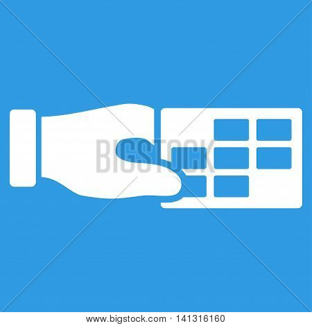 Timetable Properties vector icon. Style is flat symbol, white color, rounded angles, blue background.