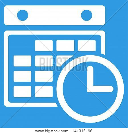 Timetable vector icon. Style is flat symbol, white color, rounded angles, blue background.