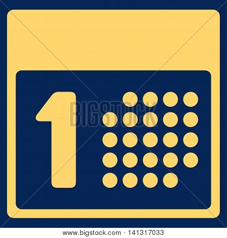 First Date vector icon. Style is flat symbol, yellow color, rounded angles, blue background.