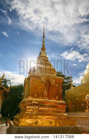 Temple in Thailand which identity of the country, Gold temple and pagoda in temple which buddhism would like to pray the buddhist in the temple, beautiful temple or architecture in thailand.