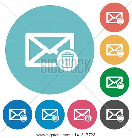 Flat draft mail icon set on round color background.