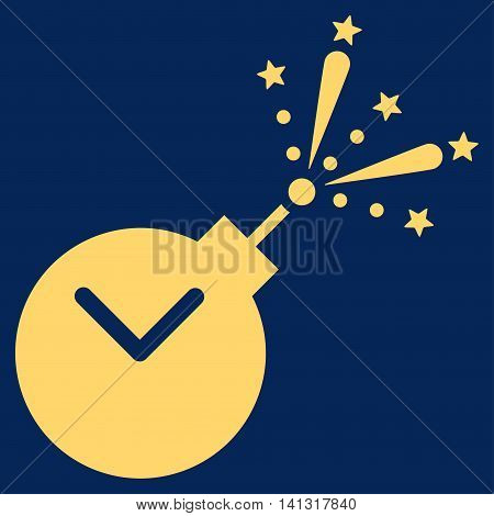 Time Fireworks Charge vector icon. Style is flat symbol, yellow color, rounded angles, blue background.