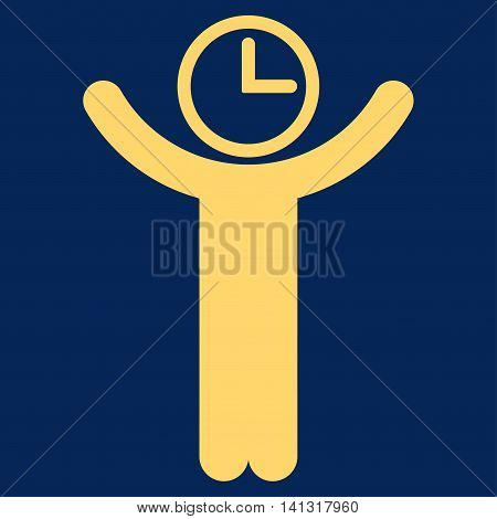Time Manager vector icon. Style is flat symbol, yellow color, rounded angles, blue background.
