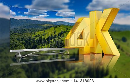 Ultra HD TV with a view of the mountains. 3D render. I am the author of the reference image, the reference - ID 13689714