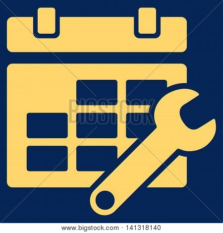 Timetable Settings vector icon. Style is flat symbol, yellow color, rounded angles, blue background.