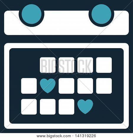 Favourite Days vector icon. Style is bicolor flat symbol, blue and white colors, rounded angles, dark blue background.