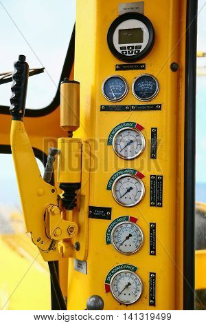 Hydraulic load indicator in control room, Gauge display to show status of hydraulic system and monitor by operator or expert, Maintenance routine job of the hydraulic system and other equipment.