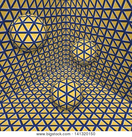 Visual illusion illustration. Three balls are moving on in the yellow blue expanding corner. Abstract fantasy in a surreal style.
