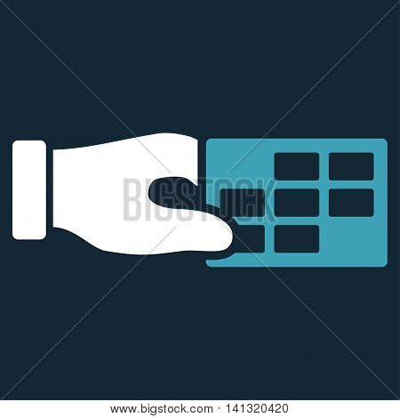 Timetable Properties vector icon. Style is bicolor flat symbol, blue and white colors, rounded angles, dark blue background.